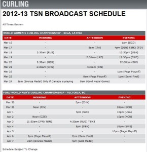 TSN Broadcast schedule for the World Curling championships.