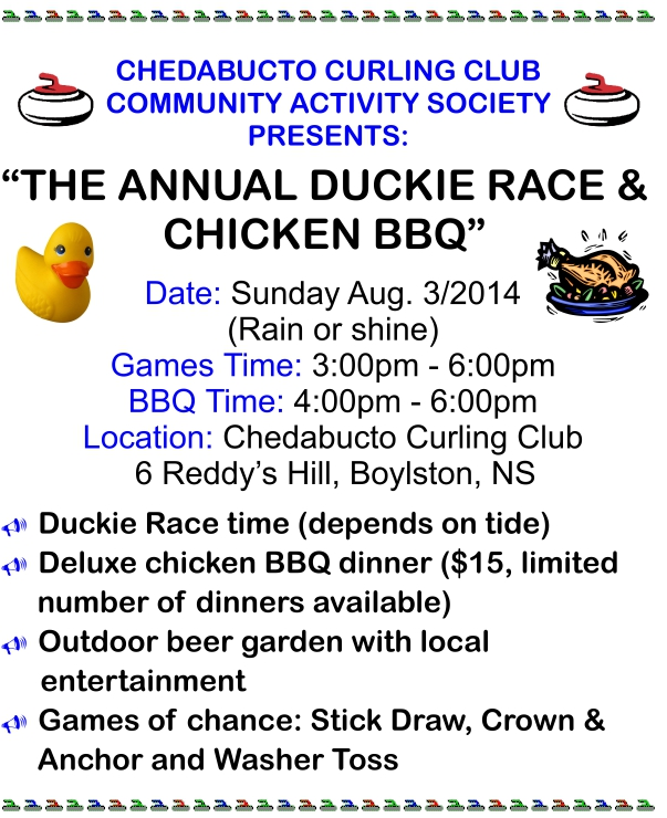 Poster for the Duckie Race and Chicken BBQ