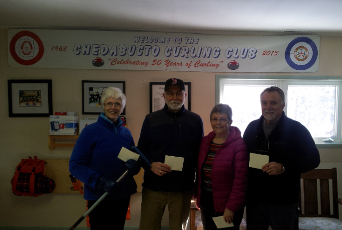 1st place after the 1st half of Day Curling. Team J. Jamieson with Mary Connolly, Mike Nicholson, Evelyne Jamieson and Joe Jamieson.