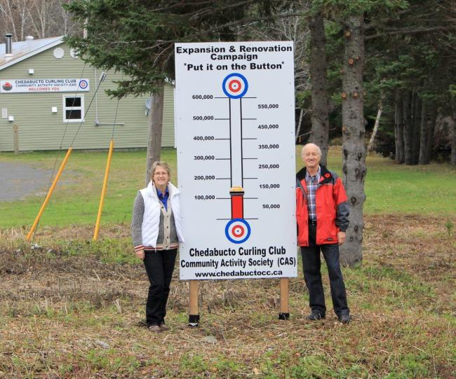 "The Chedabucto Curling Club Community Activity Society (CAS) Expansion and Renovation Campaign, aptly named ""Put it on the Button"", takes another step forward with the installation of its fund-raising thermometer on the curling rink's Boylston property. Shown are Holly Pyle-Nahrebecky, Treasurer and Ray Bates, President. (photo Robyn Fulford)"