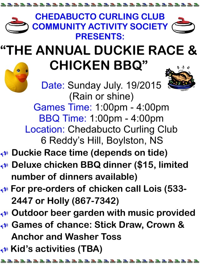 Our poster for our annual Duckie Race & Chicken BBQ