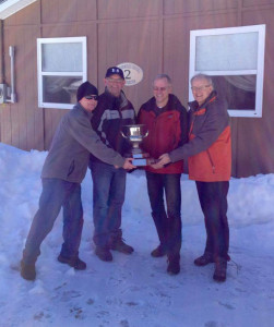 Team Sangster with the NS Senior Curling Championship trophy