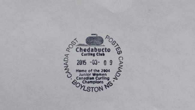 The pictorial postmark, believed to be the only such cancellation stamp existing in Canada, was originally obtained by the efforts of retired Post Master Carmen Barron but the stamp's use fell to the wayside over the past decade. Through the effort of current Boylston Post Master Brenda Hall a revised stamp was obtained to continue to acknowledge that Canadian curling achievement and also to recognize a rural curling rink's potential to produce elite curlers.
