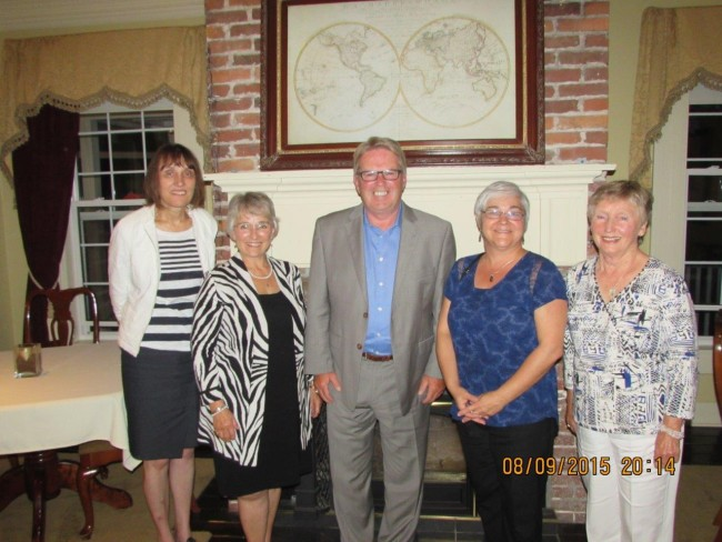 From left to right: Margaret Hadley, Chris Muise, Rodger Cuzner, Nancy O'Regan, and Betty Bates.