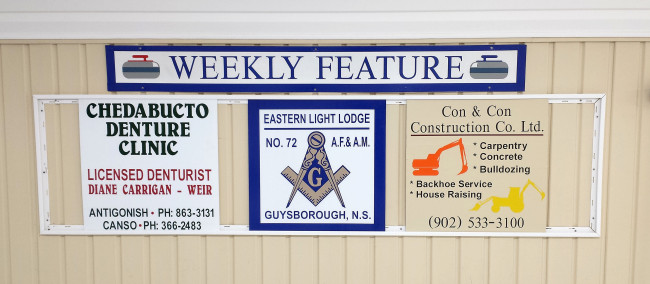 Featured Sponsors of the week for Mar21-25 are Chedabucto Denture Clinic, Eastern Light Lodge, and Con & Con Construction Ltd.