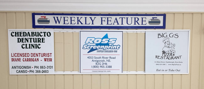 Our featured sponsors of the week for Nov. 14-18 are Chedabucto Denture Clinic, Ross Screenprint, and Big G's Pizza.